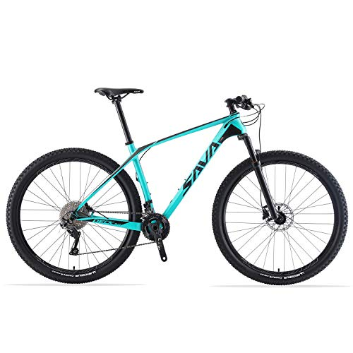 SAVADECK DECK6.0 Mountain Bike in Carbonio 27.5'/29' XC Offroad Bici MTB Ultraleggera in Fibra di Carbonio con Cambio Shimano DEORE M6000 a 30 Marce e Coda Dura Completa (Blu, 27.5 * 15)