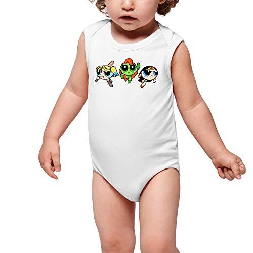 Powerpuff Girls - Super Heroines Lustiges Weiß ärmelloser Baby Strampler - Bubbles, Buttercup und Blossom aka Harley Quinn, Wonder Woman and Poison Ivy (Powerpuff Girls - Super Heroines Parodie) (Ref