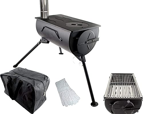 NJ The right choice Estufa de leña portátil para barbacoa, estufa de barbacoa, calentador de tienda de campaña, bolsa de fuego + parrilla