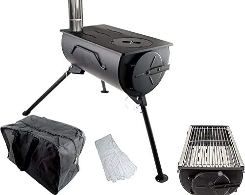 NJ Comfort Portable Wood Burning Stove BBQ Cooker Tent Heater Firepit Bag + GRILL