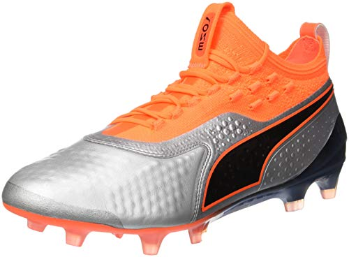 Puma One 1 Lth Fg/AG, Scarpe da Calcio Uomo, Argento Silver-Shocking Orange Black 01, 42 EU