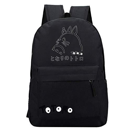 Totoro Rucksäcke Freizeit Rucksack Reisetasche Schulrucksack Laptop Rucksack Cartoon Daypack gedruckt Unisex Kinderrucksäcke (Color : Black02, Size : 32 X 13 X 45cm)