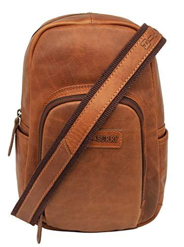 Hill Burry Leder Crossbody/Bodybag- Rucksack | Backpack - Schultertasche aus weichem hochwertigem Rindsleder | Collegerucksack - Schulterrucksack Bag - Vintage Lederrucksack (Braun)