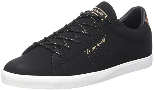 le coq Sportif Agate LO S Nubuck/Metallic, Baskets Femmes, Noir (Black/Rose Gold), 38 EU