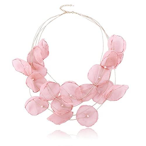 LOKILOKI Collares De Flores De Hilo Rosa Bohemio para Mujer, Joyería Elegante, Regalo para Niñas, Collares De Vacaciones, Joyería