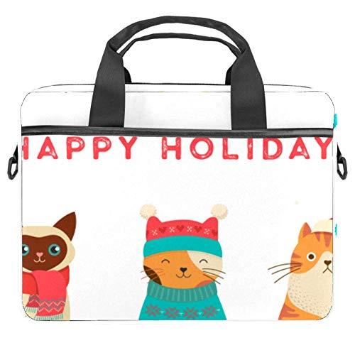 Cute Cartoon Cats Laptop Case Canvas Pattern Briefcase Sleeve Laptop Shoulder Messenger Bag Case Sleeve for 13.4-14.5 inch Apple MacBook Laptop Briefcase