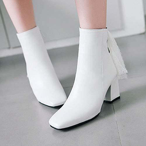 SHZSMHD enkellaarsjes voor vrouwen Karree ritssluiting terug snoeren korte laarzen schoenen vrouw bruiloft schoenen vrouwelijk