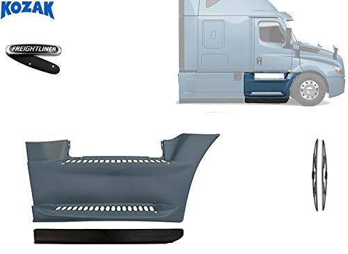 Kozak Front Fairing Step Panel with Stripe Right Side Only (Passenger Side) For Freightliner Cascadia 2017+ PLUS Freightliner Logo and 2x22' Windshield Wipers