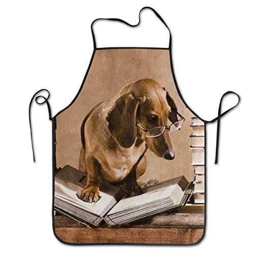 Wistty Weiser Dackel Hund Professor Buch Schürze für Männer und Frauen, Koch, Küche, Restaurant, BBQ, Grill, Backen und Kaffee
