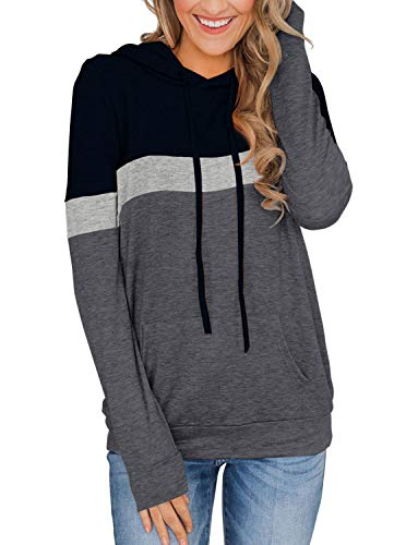 Adreamly Women Casual Color Block Long Sleeve Hoodies Tops Drawstring Pullover Sweatshirts with Pocket