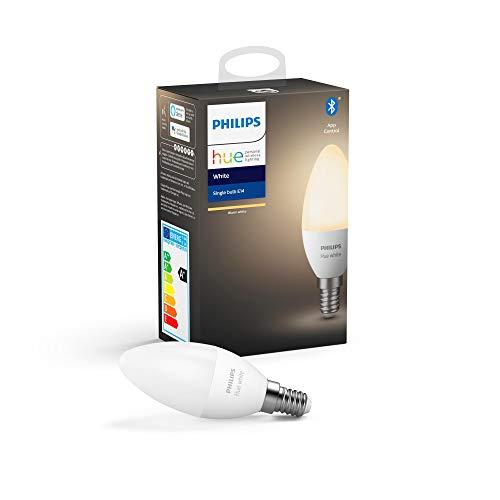 Philips Lighting Hue White Lampadina LED Connessa, con Bluetooth, Attacco E14, Dimmerabile, Tutte le Sfumature della Luce Bianca, 1 Pezzo
