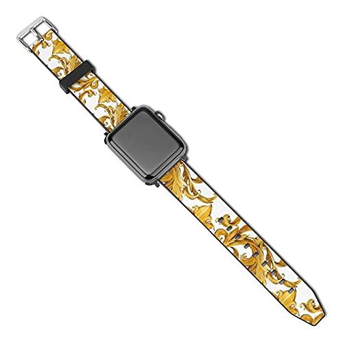 Compatibile con cinturino per Apple Watch Band Watch Strap Gold Chain amless Golden Heart Love 38mm 40mm Donne Uomini Ragazze Ragazzi PU Cinturino di Ricambio per iWatch ries 5 4 3 2 1
