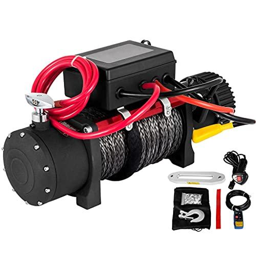 GIFE Cable De Cabrestante Eléctrico - Cuerda De Remolque Sintética De 12 V, 6123,5 Kg / 13500 LB, Control Remoto, Recuperación Todoterreno, Automóvil, Furgoneta, Remolque