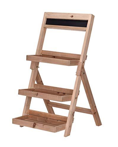 Spetebo Scala per piante in legno, 76 cm, con 3 ripiani, pieghevole, con lavagna, per interni ed esterni