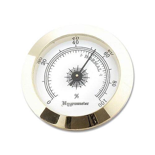 Hygrometer zum Einbauen in Humidore aus Messing in gold 5 cm Durchmesser