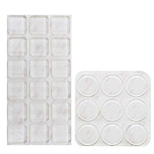 Shintop 27 Stück Möbelpuffer, Stoßfänger Durchsichtigem Anti Rutsch und Geräuschdämpfung für Glas, Türen, Schränke, Schubladen und Möbelschutz (Quadratisch, Kreisförmig)