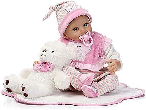 Nlatas Weiß Reborn Baby Puppe 22 inch 5cm Naturgetreue Jungen mädchen Spielzeug Dolls Toys Lifelike Rebornpuppen