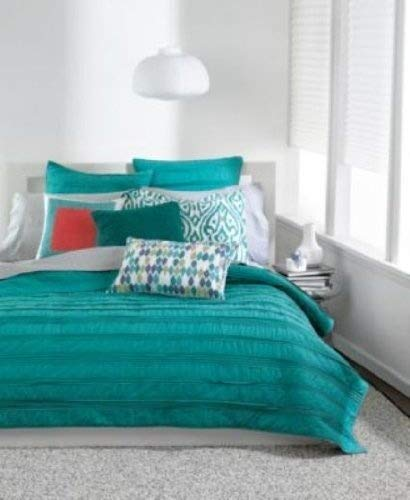 Best Review Of Bar lll Solid Ruffle Twin / XL Twin Cotton Coverlet Teal