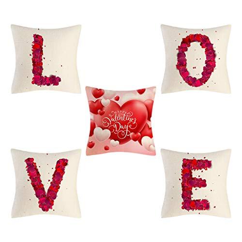 YU-HELLO Funda de cojín de poliéster para sofá, coche, decoración del hogar, diseño de San Valentín
