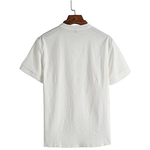 UJUNAOR T-Shirt Solide Chinesischer Stil Herren Shirt aus Baumwolle Klassisches Hemd Knöpfen Oberteile Bluse(Weiß,XX-Large)