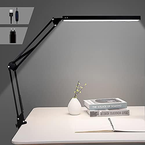 Bteng Lámpara de Escritorio LED, 14W Flexo Led Escritorio con Abrazadera, Cuidado de Los Ojos Sin Parpadeo, Brazo Largo Giratorio Ajustable de 360 Grados Alimentación por USB, Negro ⭐