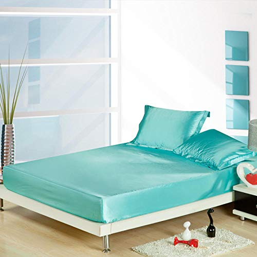 JRDTYS Microfibre Flat Sheet - No-Iron Bed Sheet is Breathable,SoftPure color ice silk-Water blue_Bed sheet 120cm×200cm