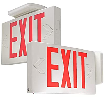 eTopLighting [2 Pack] Red LED Exit Sign, Emergency Light, Green Lettering in White Body, Battery Back Up, Extra Face Plate Double Face, Ceiling/Wall Mount, AGG2538