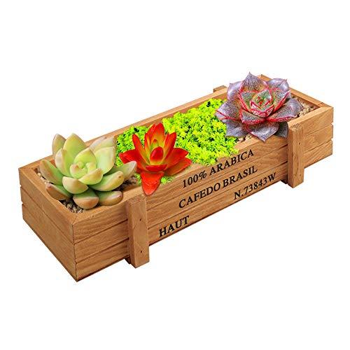 VINFUTUR Caja Madera Plantas Maceta Madera Rectangular Suculentas Macetero Madera Jardinera Rectangular para Jardín Casa Cocina Oficina 22.4 * 8.5 * 4.8cm(SIN Flores)