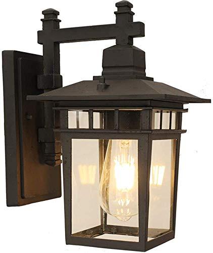Außenlampe Vintage schwarz Wandlampe Wasserdicht IP23 Aluminiumguss und Glas Aussenleuchte Retro E27 Landhaus Gartenlampe Hauseingang Hoflampe Eingangs Außen-Wandleuchte 27.5 * 18 * 31 cm
