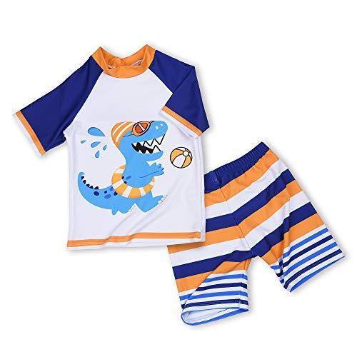 AMZTM Dinosaurios Bañadores para Bebés Niño 3 años Dino Trajes de baño/Bañador de Dos Piezas con Camisa de Manga Corta y Shorts con protección Solar