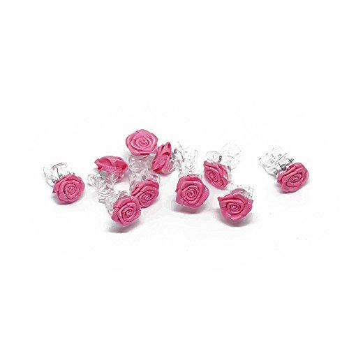 10 x Rosen auf Haarklammer - Brauthaarschmuck - Rosenhaarklammern - Pink