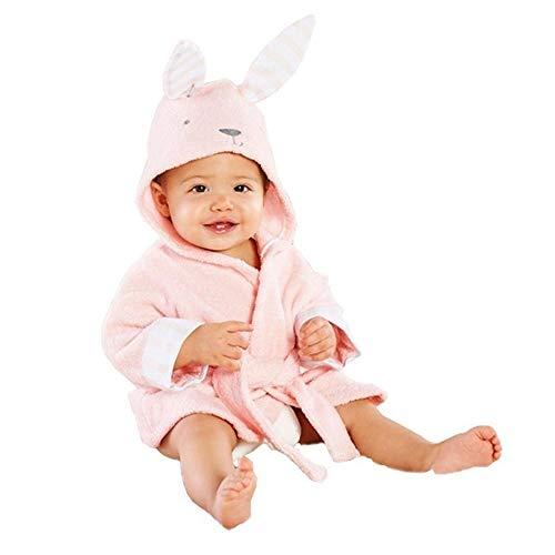 OverDose Damen Baby Jungen Mädchen Kinder Bademantel Cartoon Tiere Nette Weiche Licht Saugfähige Kapuze Handtuch Pyjamas Kleid(Rosa,12-18Months)