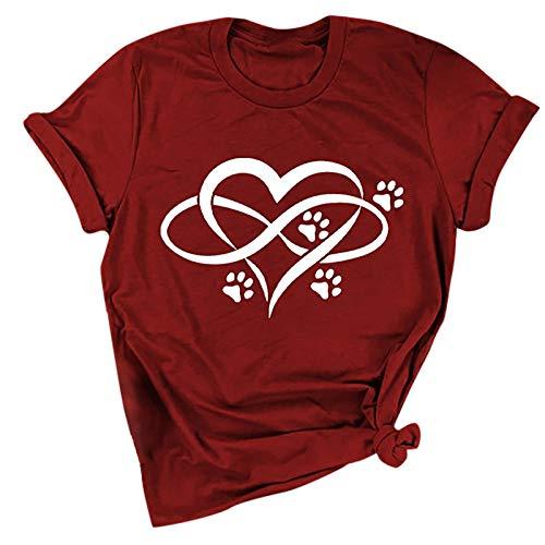 YANFANG Camiseta Unisex para Mujer de Manga Corta con Cuello Redondo y Estampado de Huella de Pata de Oso para Adulto