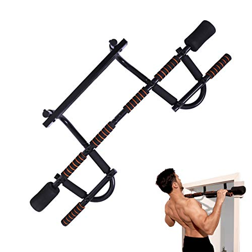 YIOFOO Doorway Pull Up Bar with Ergonomic Grip, Exercise Equipment Body Gym System No Screws Trainer, Multi-Grip Chin Up Bar & Exercise Bar & Home Workout