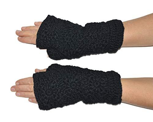 Invisible World Damen fingerlose Handschuhe aus Wolle – ideale Halbfinger Winter Strickhandschuhe mit Fleece Innenfutter – Schwarz