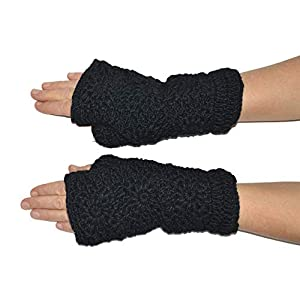 Invisible World Women's Crochet Wool Fingerless Gloves Fleece-Lined Texting