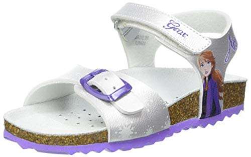 Geox Baby-Mädchen J Adriel Girl C Sandal, Silver/Lilac, 24 EU