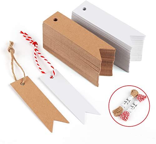 Sweelov 200stk Kraftpapier Anhänger Etiketten weiß Braun Geschenkanhänger 7 * 2cm mit Jute Schnur 20M für Hochzeit Geschenke zum Basteln