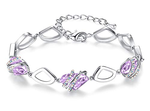 Leafael [Presented by Miss New York Wish Stone Bracelet Made with Swarovski Crystals, Silver Tone or 18K Rose Gold Plated, 7'+2' Purple