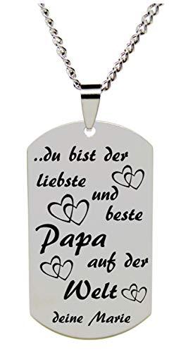 Edelstahl Anhänger Dogtag & Panzerkette mit Wunschgravur ID Bester Papa Geschenk