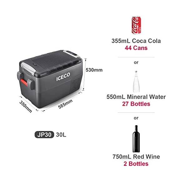 ICECO JP30 Portable Refrigerator, 12V Car Fridge Freezer, 31 Liters Compact Refrigerator with Secop Compressor, for Car… 8 ※ 【FREE PARTS】- Insulated Protective Cover & 12 Feet-Long Extend DC Power Cable. ※ 【MAX & ECO MODE】- This function allows the compressor speed to be slowed down to increase operational efficiencies(ECO) or increase the compressor speed to provide ''quick'' cooldown times(MAX). ※ 【NO ICE NEEDED】- Adjustable Temperature From -7℉~50℉(-22℃~+10℃). How Danfoss compressor works: for the purpose of saving energy, the compressor will stop operating when the freezer up to the set temperature and the compressor will restart to operating when the temperature in the box has risen 6℉-9℉.