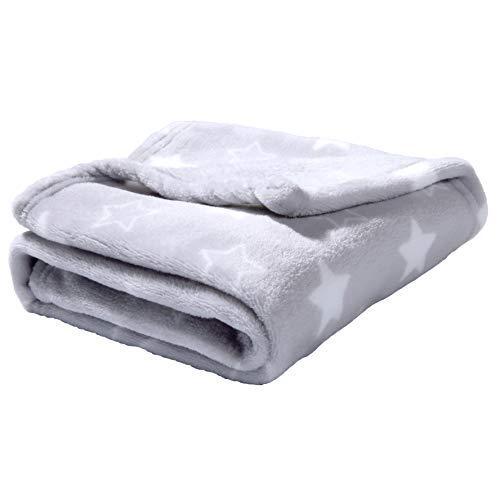 Adore Home Soft Fleece Baby Blanket Plush Flannel Newborn Moses Basket Pram Girl & Boy, Grey With Stars, 60x90cm