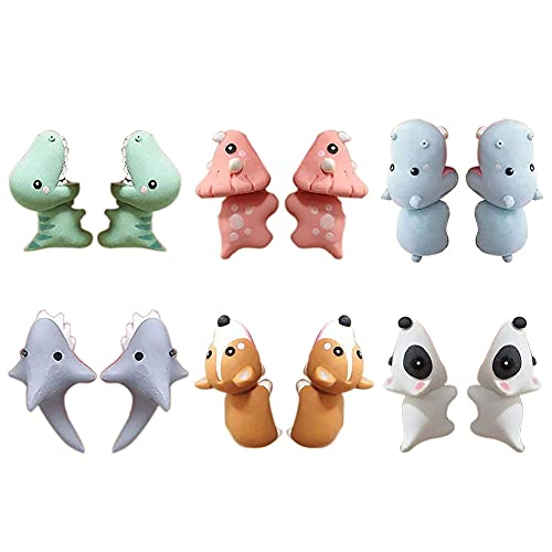 Orecchini divertenti, orecchini da morso 3D carino animale argilla orecchini con droga di squalo Dinosauro per ragazze donne 6pairs compleanno regalo di Natale regalo