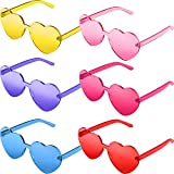 6 Pieces Heart Shaped Rimless Sunglasses Candy Color Frameless Glasses Tinted Eyewear for Party Cosplay (Pink, Rose Red, Yellow, Blue, Red, Purple)