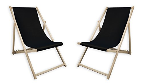 MultiBrands 2 x Liegestuhl, Holz, Schwarz ohne Armlehne, klappbar, mit wechselbaren Stoffbezug