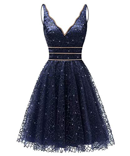 Women's Tulle Prom Gown Short Homecoming Dresses Crystal Sparkle Party Dresses(Navy,12)