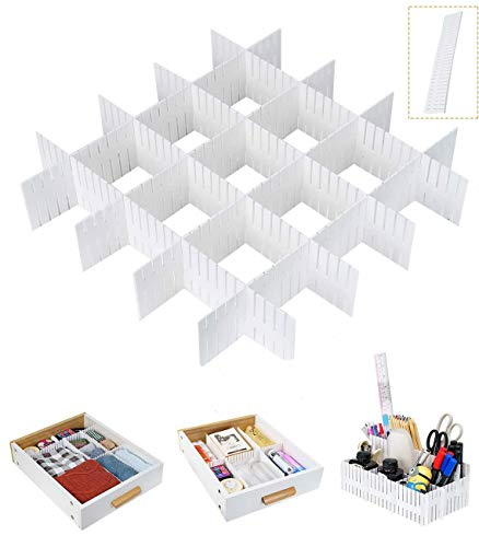 Tang Yuan 12-teilige Schubladenteiler, weiße Schubladenteiler, Schubladengitter DIY Organizer, verwendet, um Büro Schlafzimmer Kommode Schublade Desktop zu organisieren