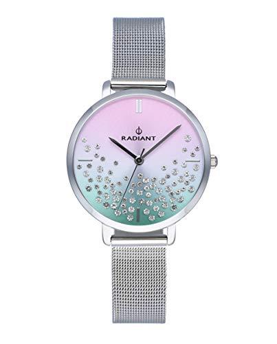 Reloj analógico para Mujer de Radiant. Colección Ella. Reloj Plateado con Malla milanesa Esfera Azul y Rosa con pedrería. 3ATM. 36mm. Referencia RA525602.
