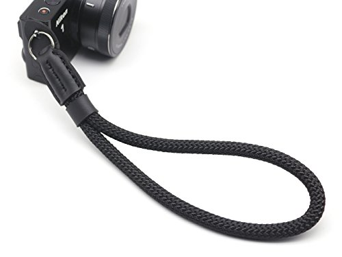 INPON ハンドストラップ 金属リング/リングカバー付き 一眼レフ/ミラーレス/コンパクトカメラ用 ブラック ...