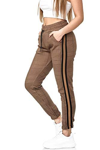 Damen Jogginghose Frauen Trainingshose Sport Fitness Gym Training Slim Fit Sweatpants Streifen Jogging-Hose Stripe Pants Modell 1226 (Braun Schwarz, 2XL)